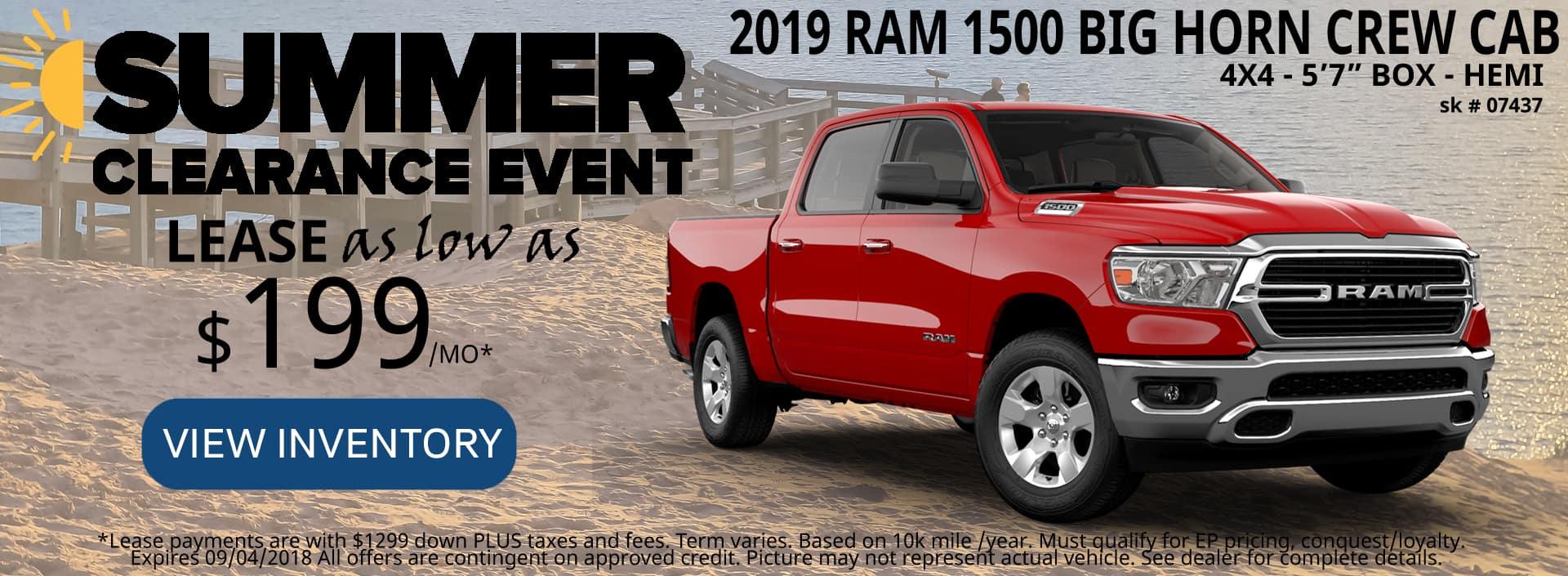 August 2018 Special 2019 1500 Ram Big Horn 4x4