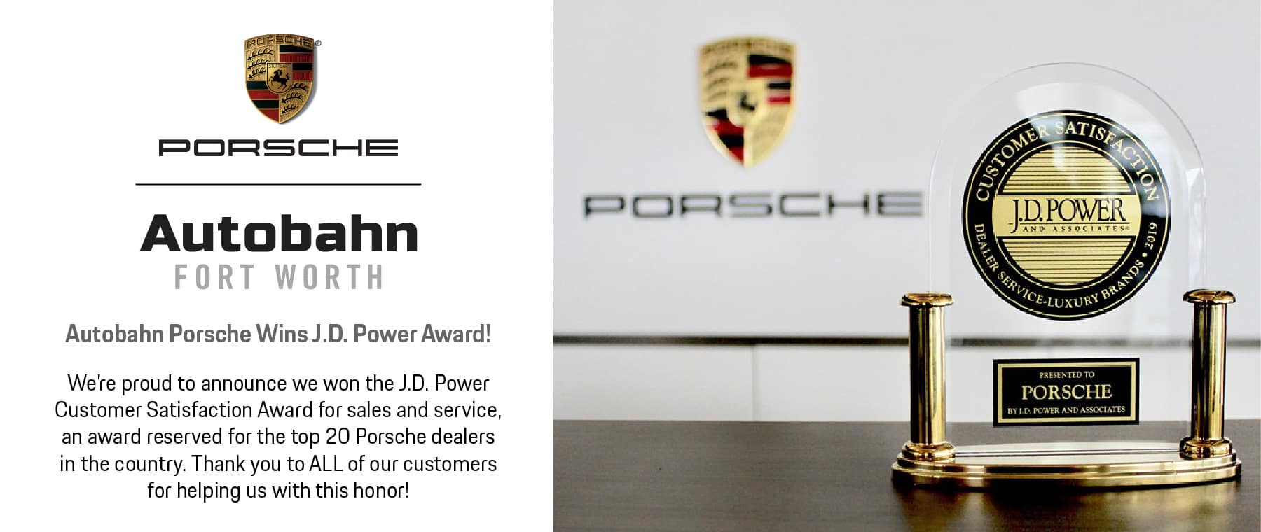 Autobahn Porsche Wins J.D. Power Customer Satisfaction Award!