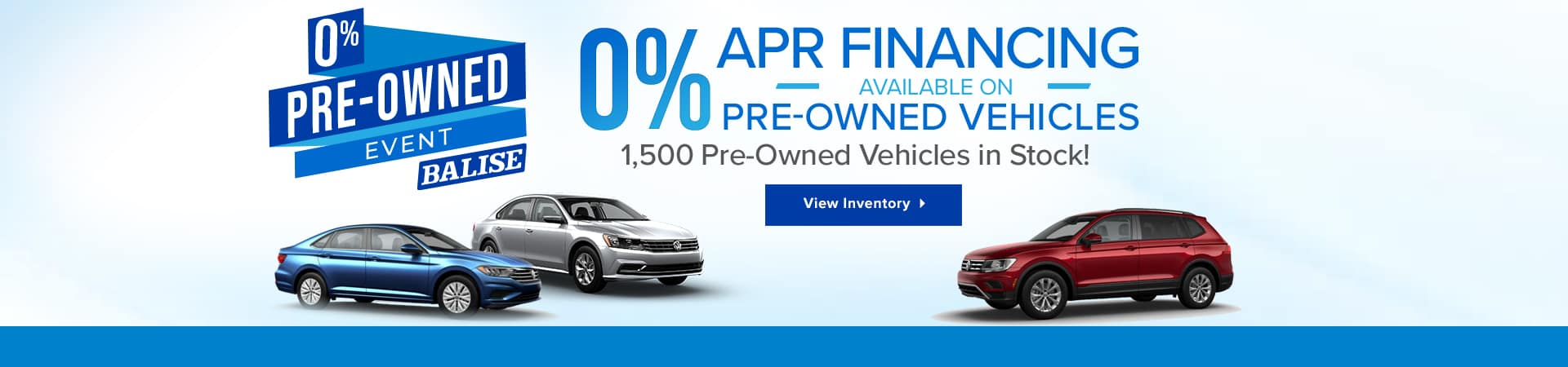 Zero percent down on pre-owned vehicles at Balise Volkswagen