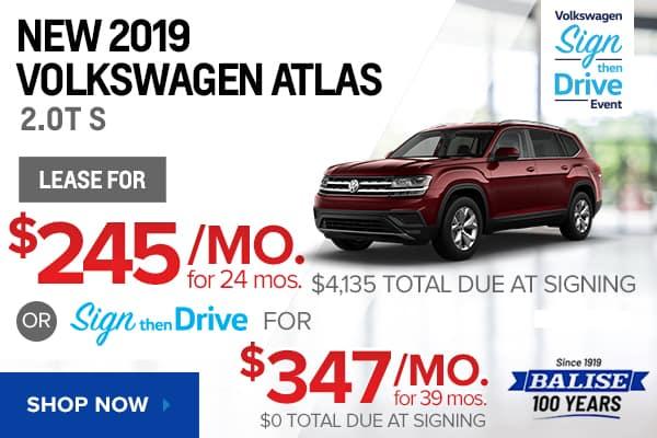 New 2019 Volkswagen Atlas 2.0T S