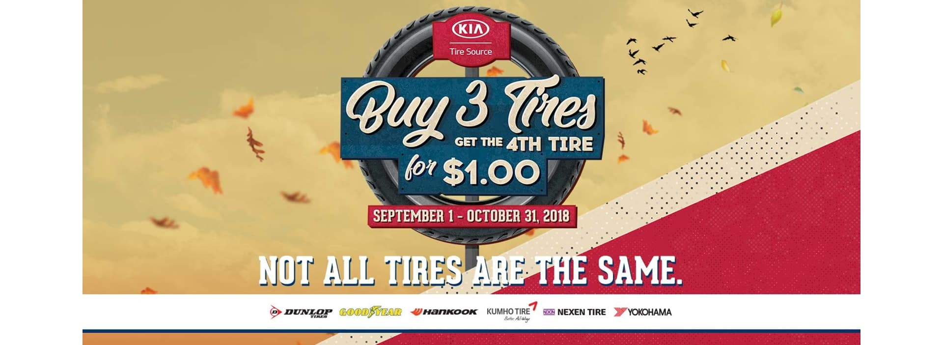 Kia Tires Promotion - Buy 3 Get 1 for $1.00