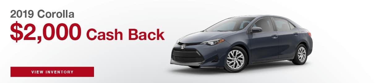 Corolla Cash Back Offer