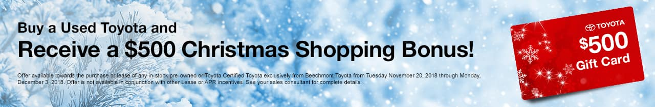 500 Gift Card Offer Toyota Used