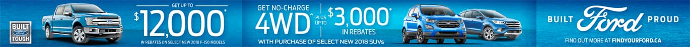 Get up to $12,000 in rebates on select new 2018 F-150 models. Get no-charge 4-wheel-drive plus up to $3,000 in rebates with purchase of select new 2018 SUVs