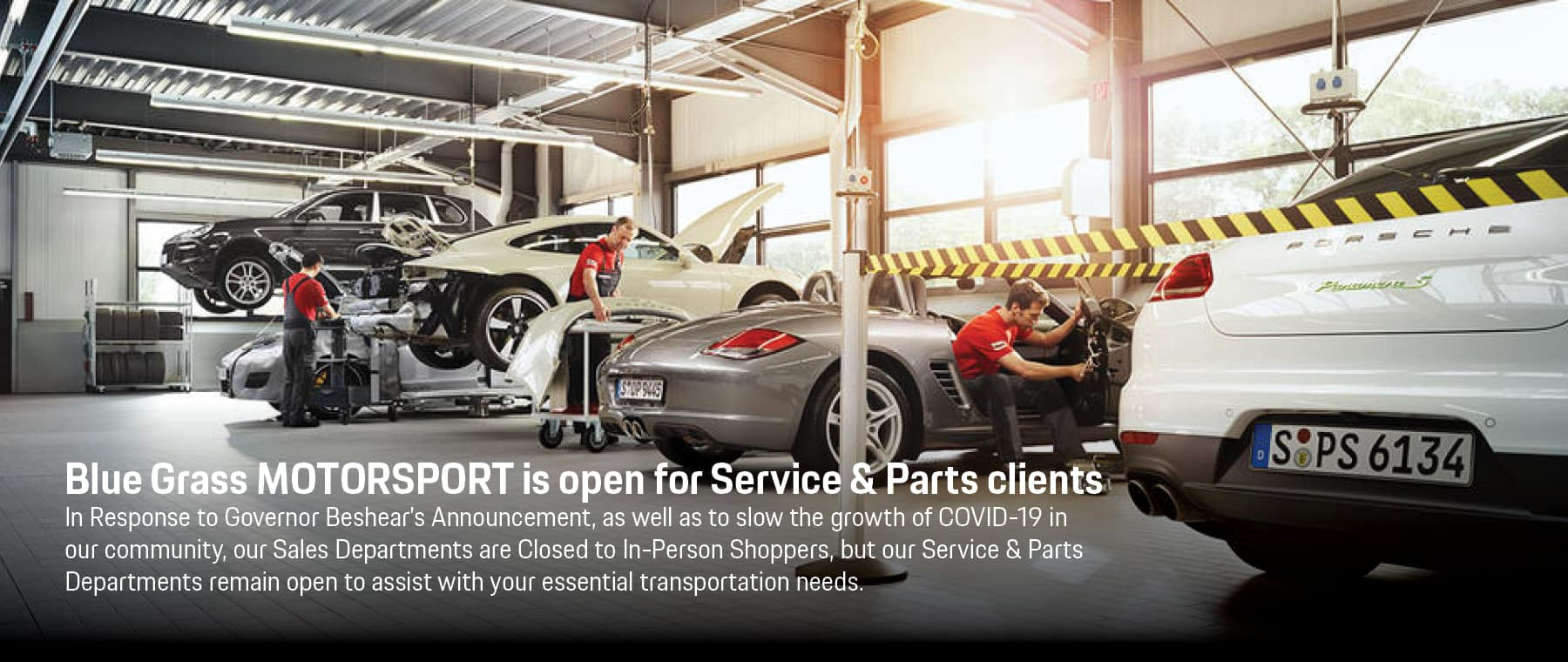 Service and Parts are still open