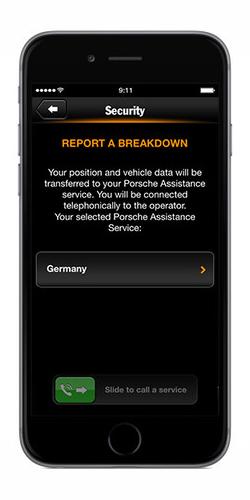 Porsche Car Connect App Safety Services