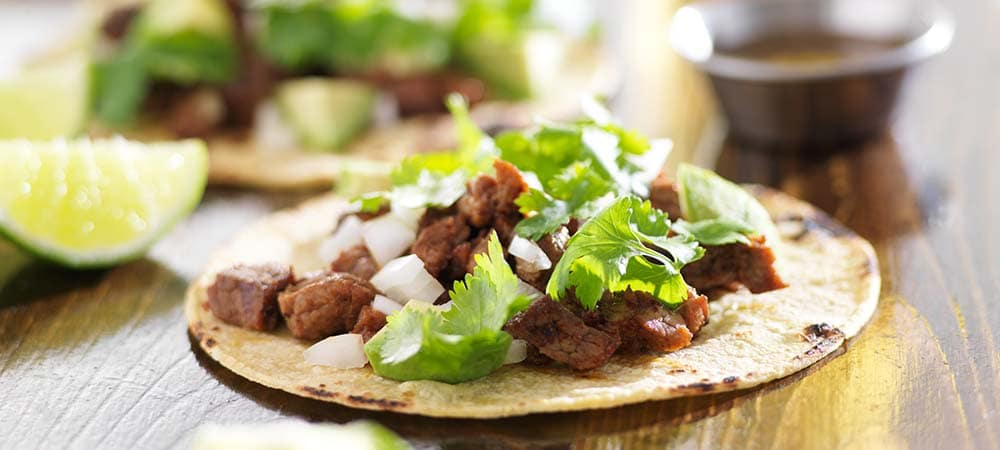 authentic mexican tacos with steak
