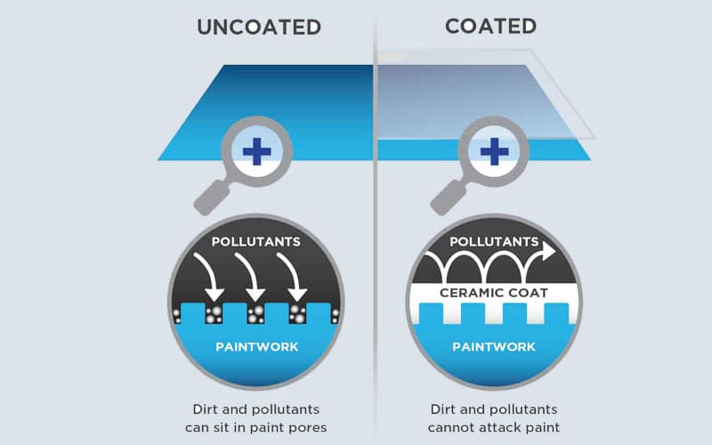Uncoated versus coated paint, showing the difference in ceramic procedures.