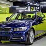 A BMW with CilaJet applied, shining in the CilaJet showroom.
