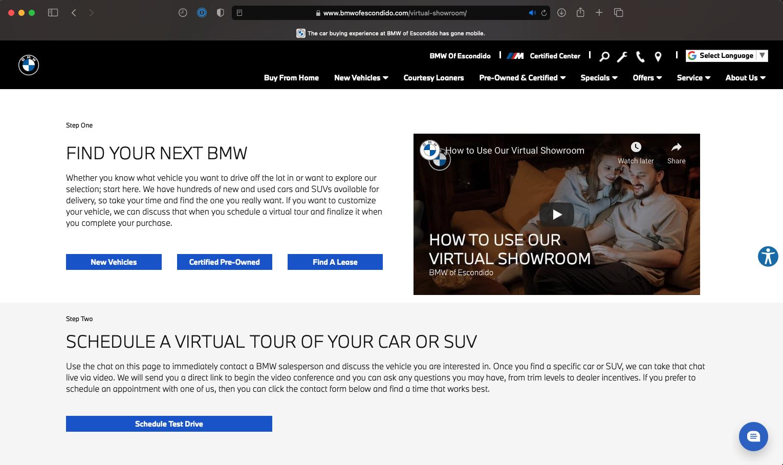 BMW of Escondido Virtual Showroom