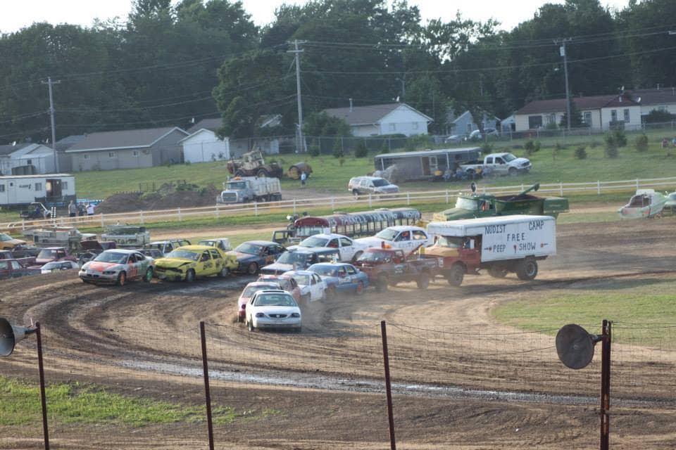 Cars Racing at the Night of Destruction