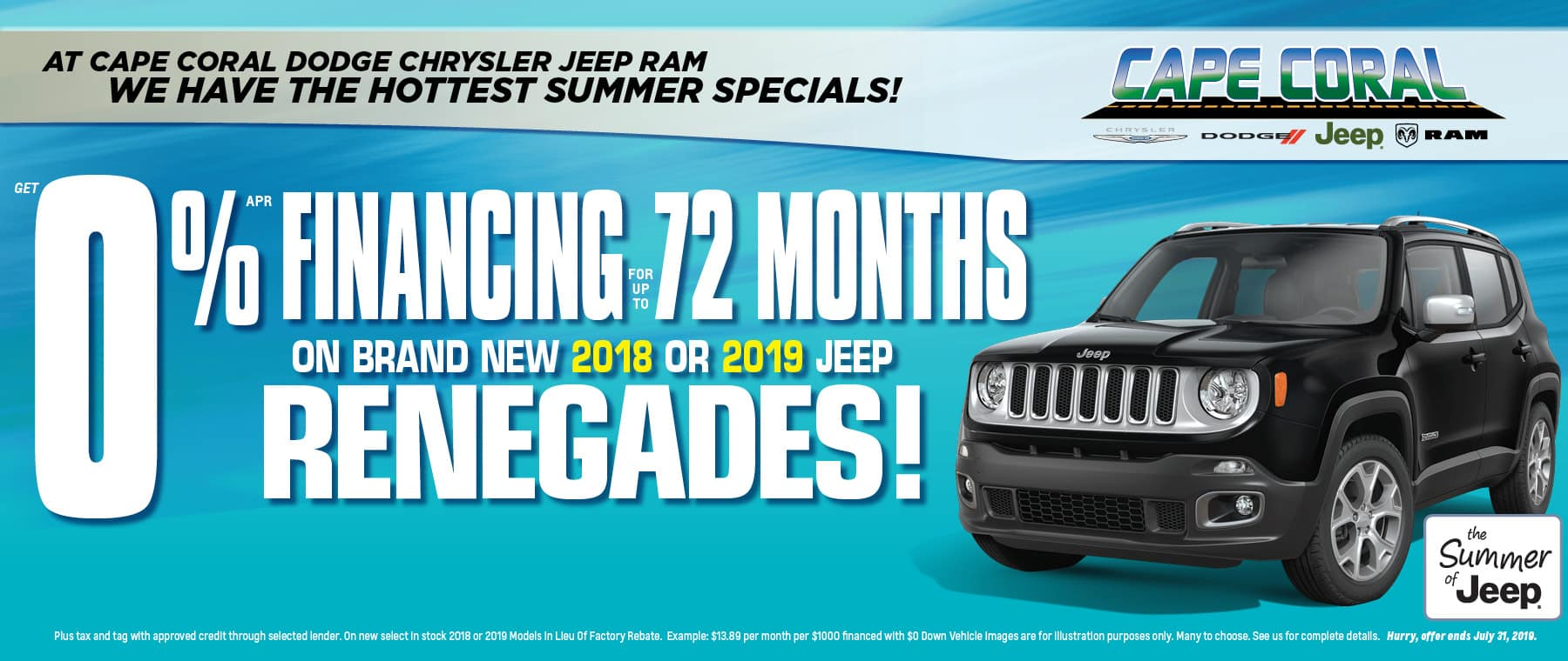 Just Announced! 72% Financing Available On Jeep Renegades!