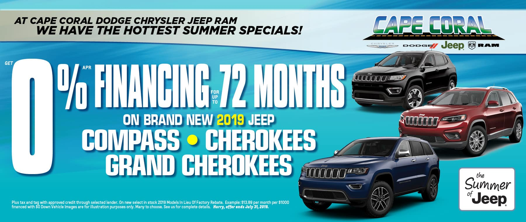 Just Announced! 72% Financing Available On Jeep Cherokees, Grand Cherokees & Compass!
