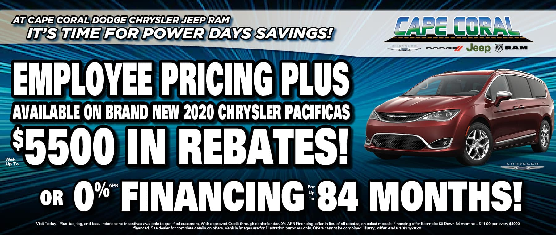 Pacificas with Employee Pricing!
