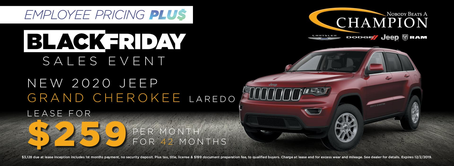 Lease a 2020 Jeep Grand Cherokee Laredo for $259/mo. for 42 mos.
