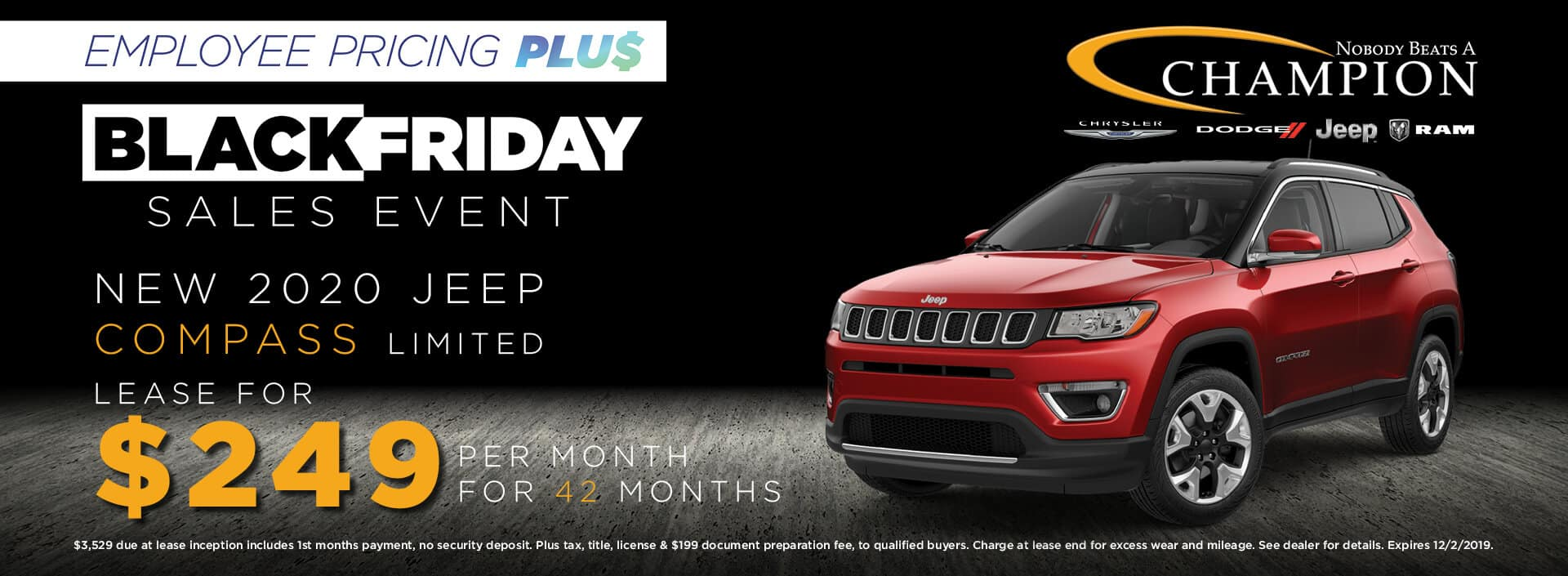 Lease a 2020 Jeep Compass Limited for $249/mo. for 42 mos.