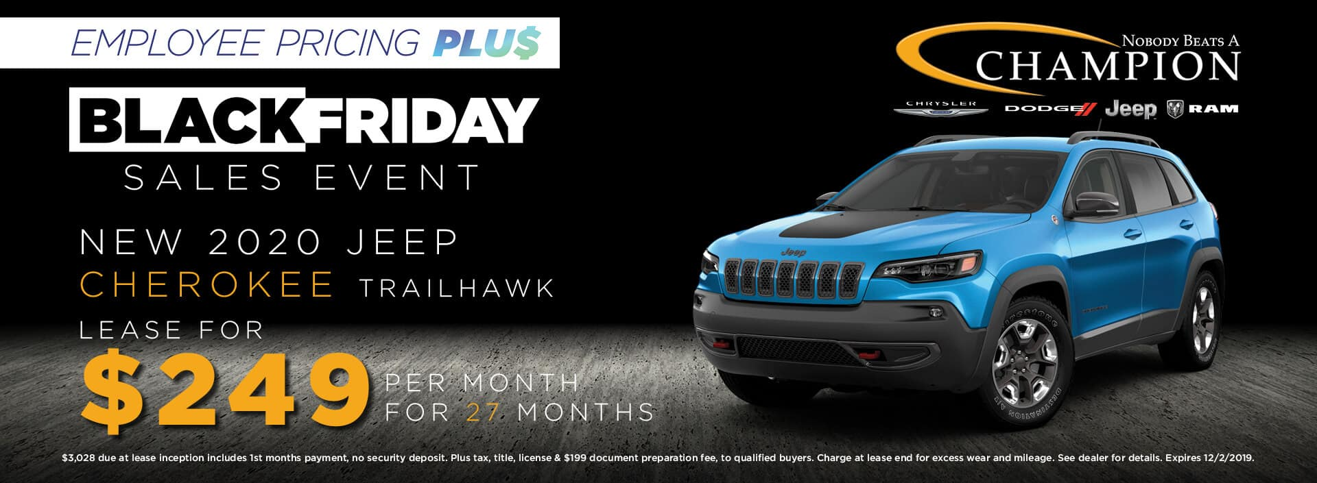 Lease a 2020 Jeep Cherokee Trailhawk for $249/mo. for 27 mos.