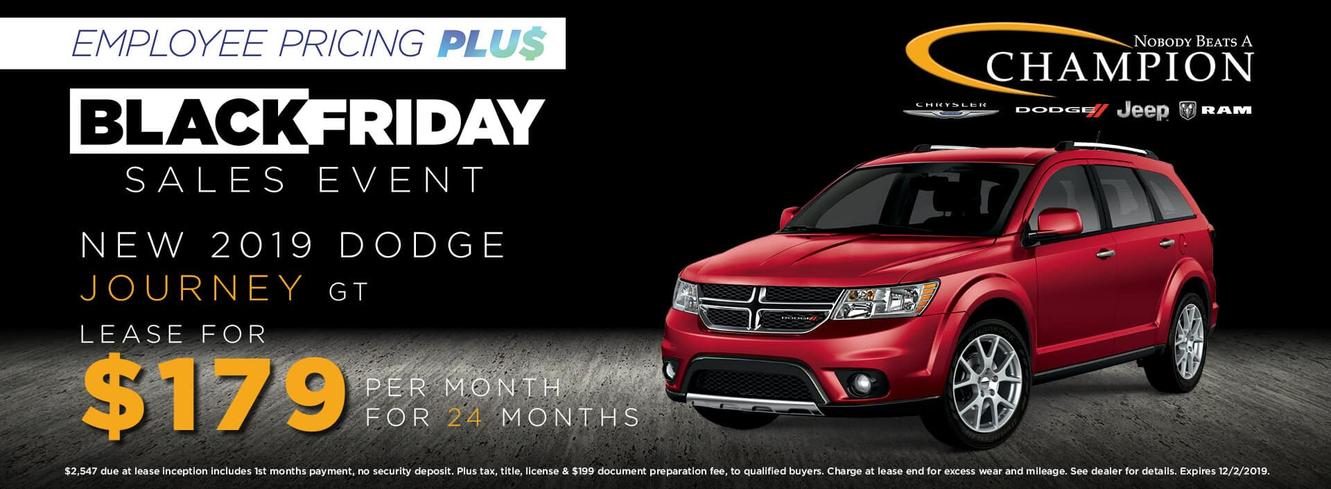 Lease a 2019 Dodge Journey GT for $179/mo. for 24 mos.