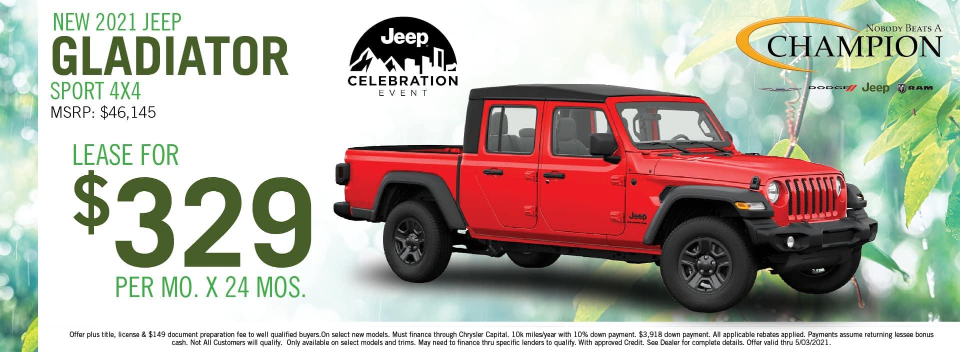 2021 Jeep Gladiator Lease Deals - Champion CDJR