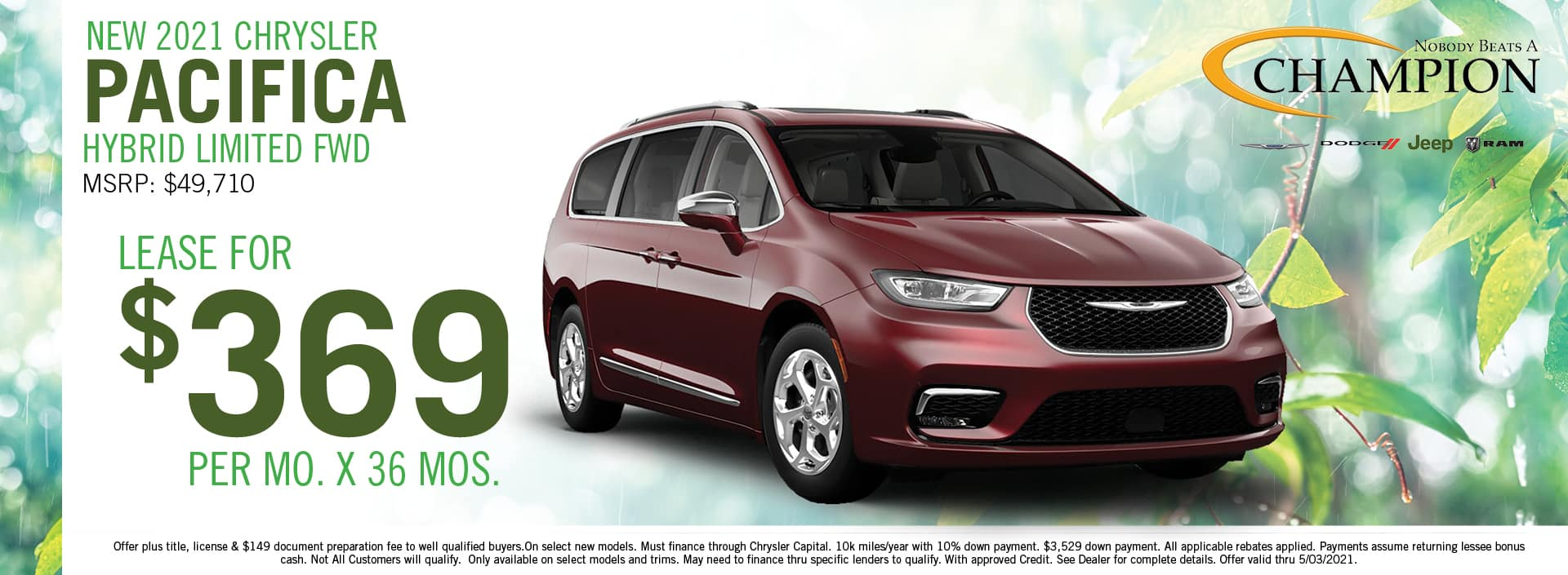 2021 Chrysler Pacifica Lease Deals - Champion CDJR