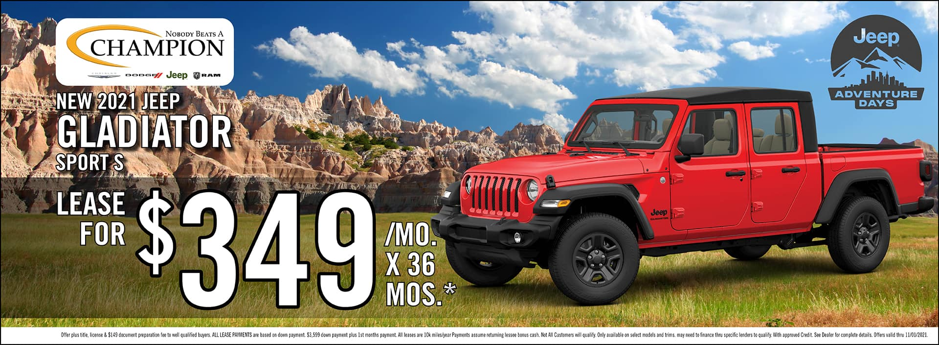 New 2021 Jeep Gladiator Sport S Lease Offer