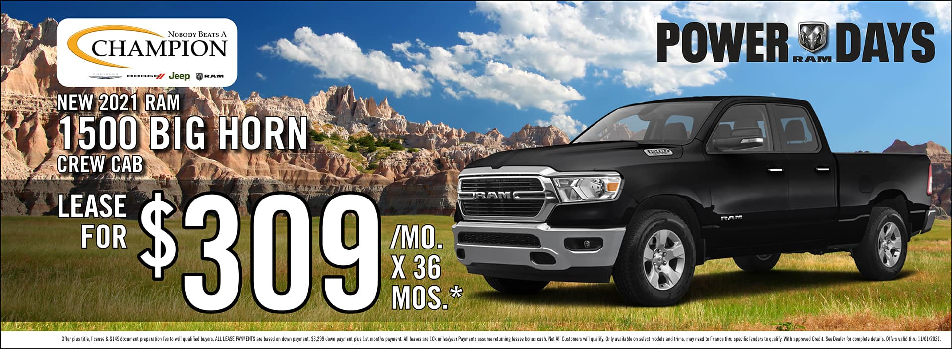 New 2021 Ram 1500 Big Horn Crew Cab Lease Offer