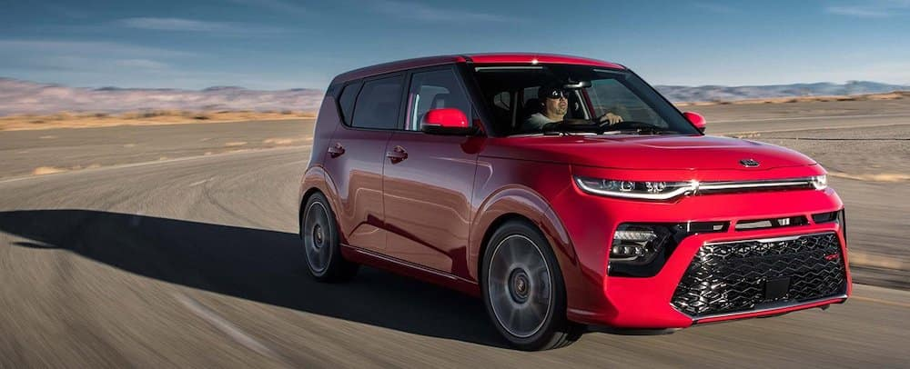 2020 Kia Soul in red on a racetrack