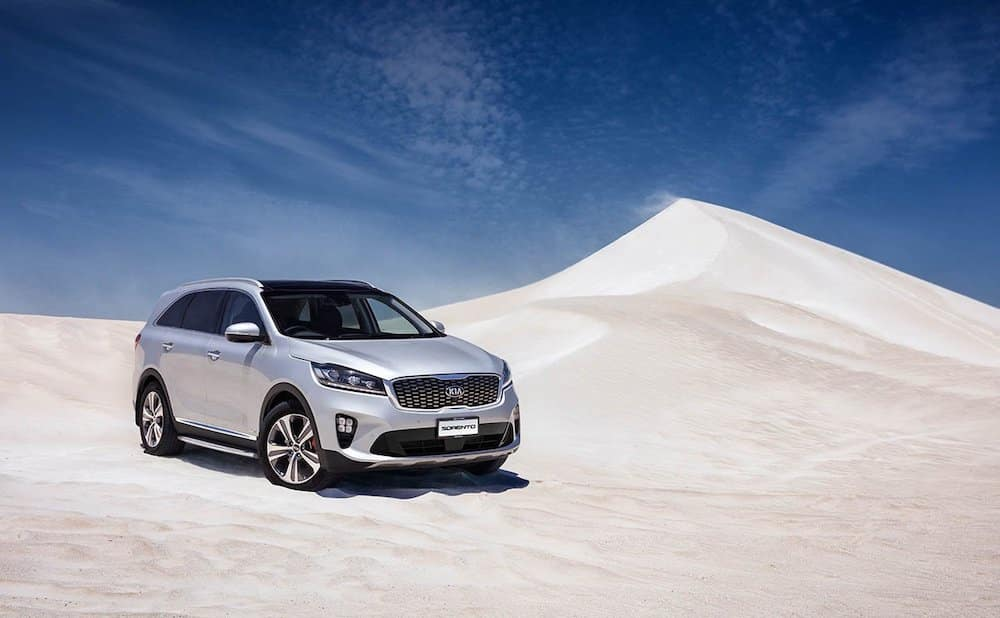 2019 Kia Sorento in silver in the desert