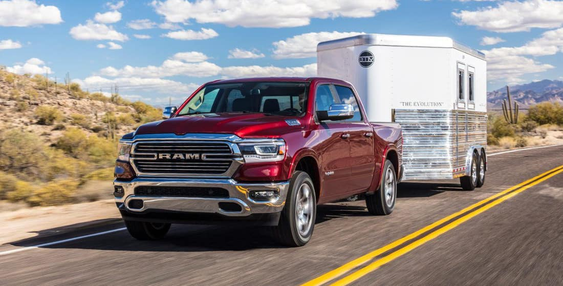 2019 Ram 1500 Laramie with trailer in tow