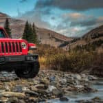 2018 Red Jeep Wrangler with Scenic Background