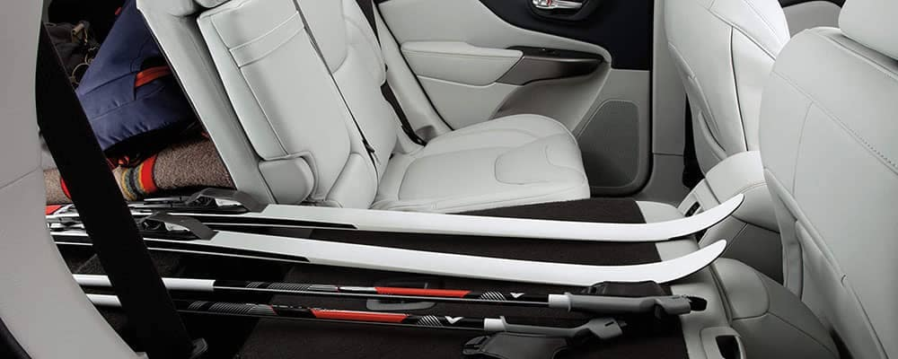 2019 Jeep Cherokee interior with skis inside