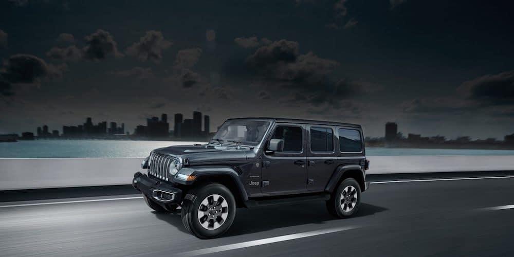 Black 2019 Jeep Wrangler on Highway