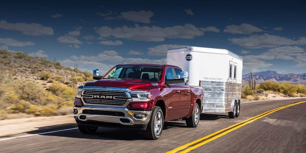 Red 2020 RAM 1500 Towing Trailer