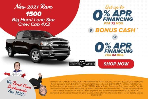 NEW 2021 RAM 1500 BIG HORN CREW CAB 4X2 5'7