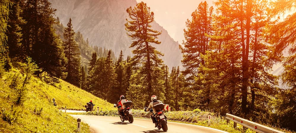 Two motorcyclists riding down tree-lined mountain highway