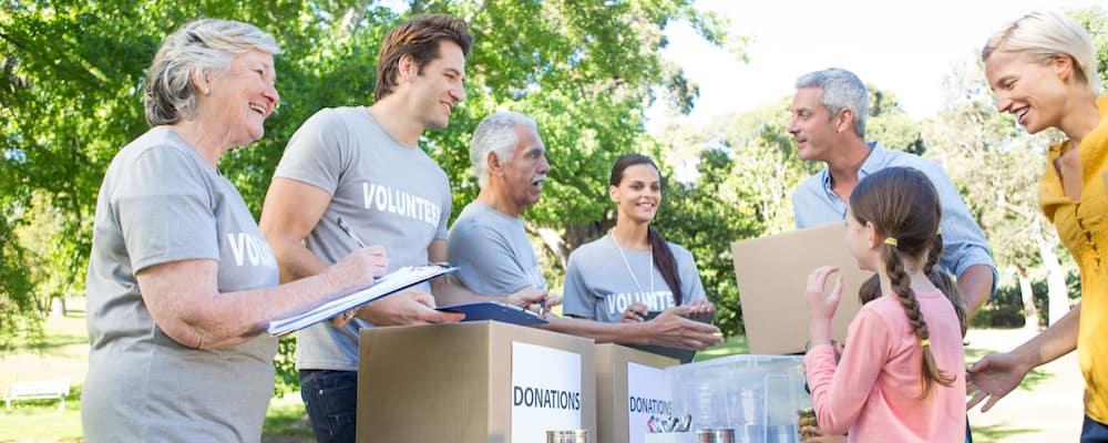Volunteers collecting donations