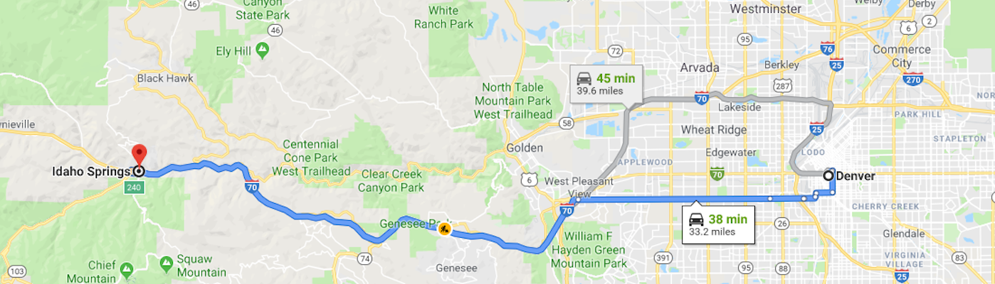 Map of route from Denver to Idaho Springs, CO