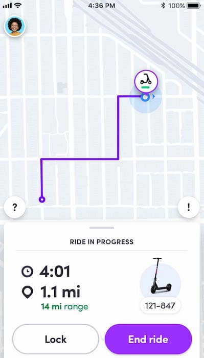 Map view of Lyft Scooter location in app