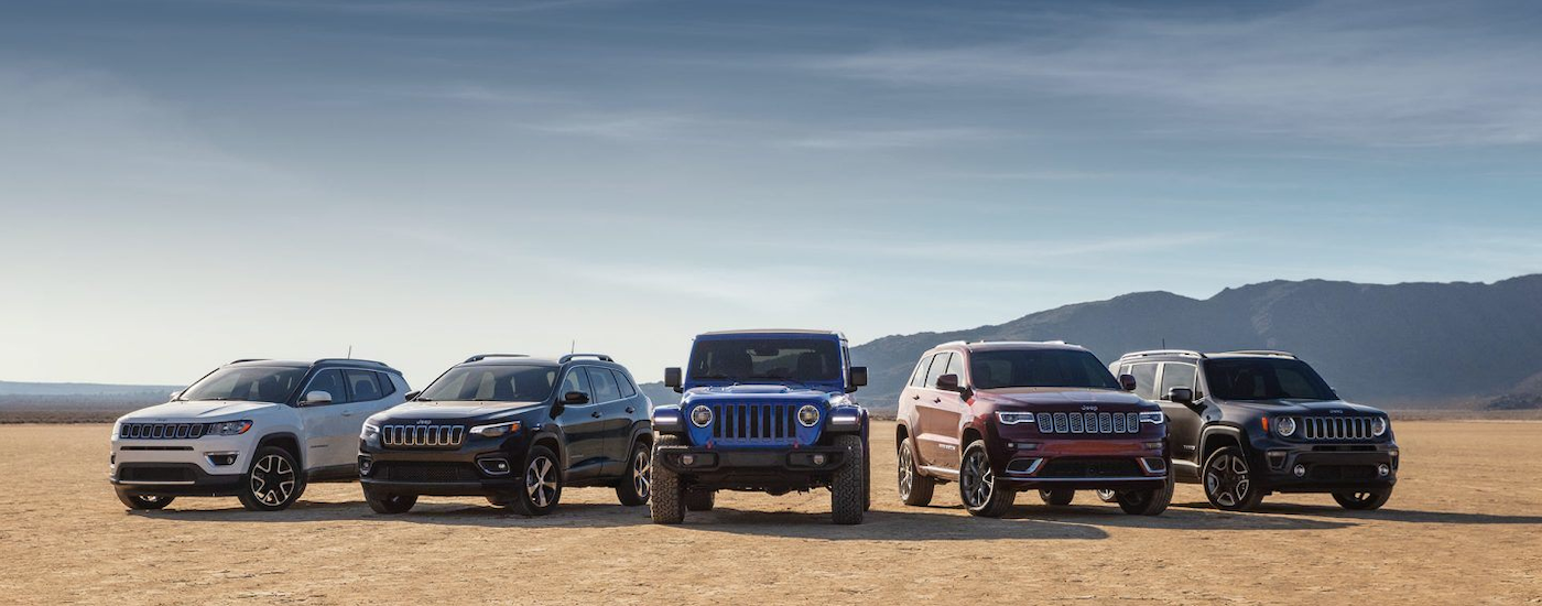 The 5 vehicles in the 2019 Jeep lineup are shown in the desert. Look into a Jeep lease if you're interested in one.