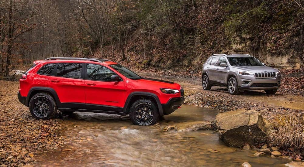 A red 2019 Jeep Cherokee in a woodland river with a silver Cherokee on a dirt trail next to it