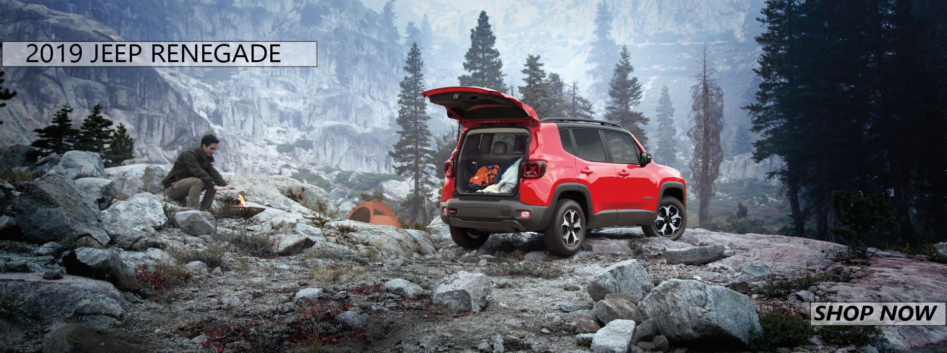 Red 2019 Renegade Parked on misty mountain with open trunk in Ennis