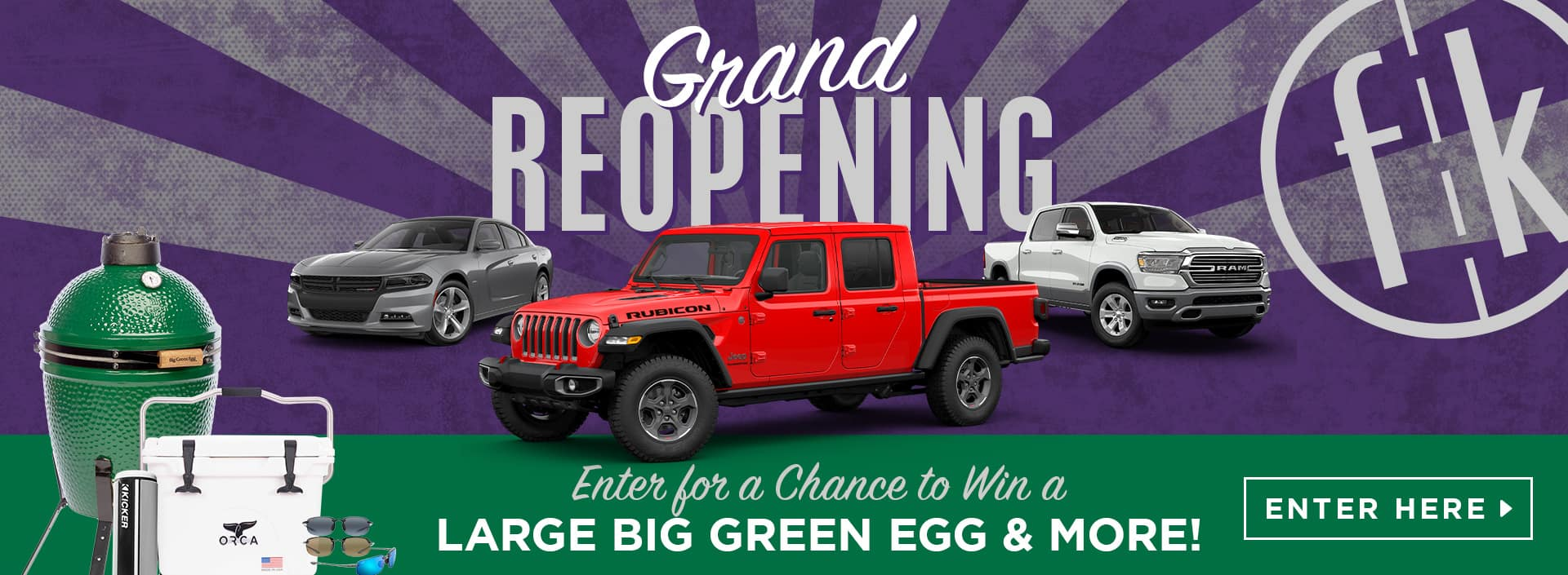 Grand Reopening Offer with a chance to with a Large Big Green Egg Grill & More