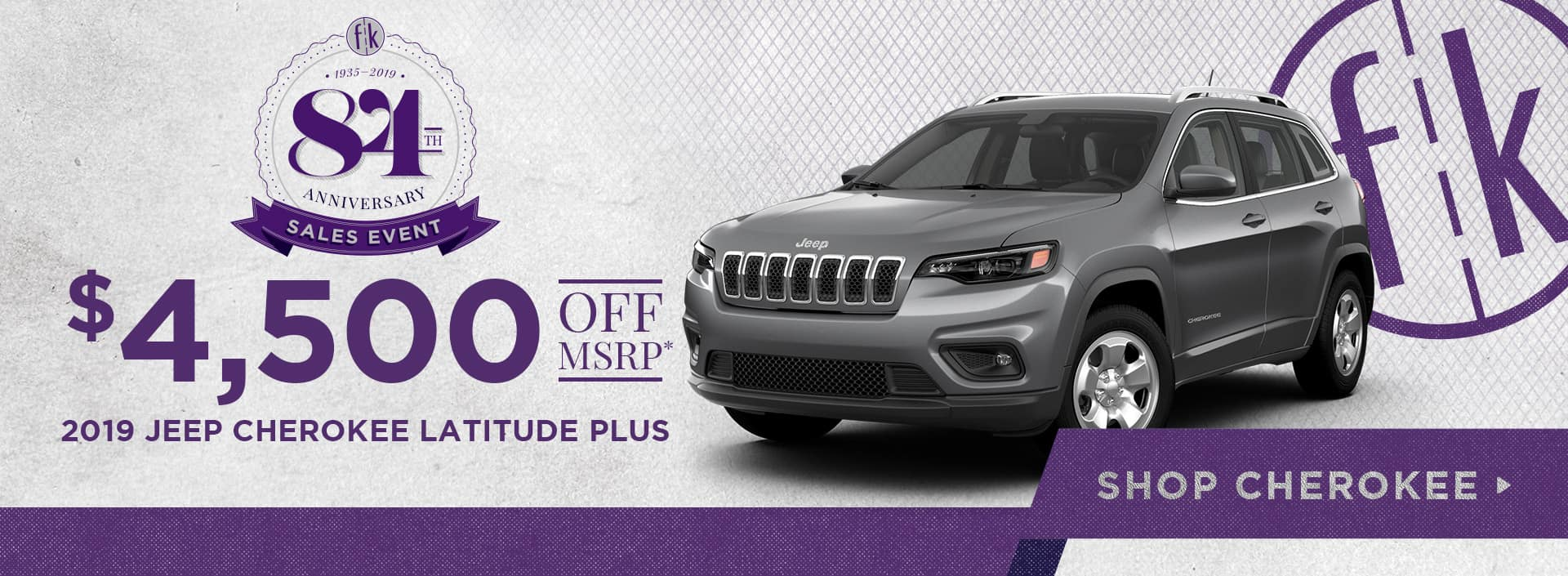$4,500 Off 2019 Jeep Cherokee Latitude Plus