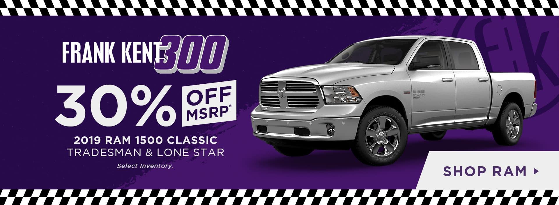 30% Off 2019 RAM 1500 Classic Tradesman & Lonestar