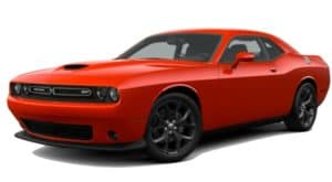A red 2019 Challenger Hellcat is facing left.