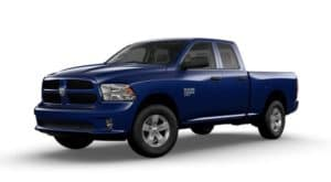 A blue 2019 Ram 1500 Classic is facing left.