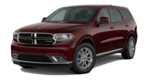 A red 2020 Dodge Durango is facing left.