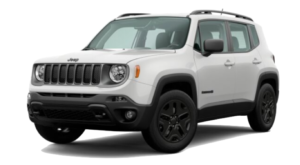 A white 2020 Jeep Renegade is facing left.