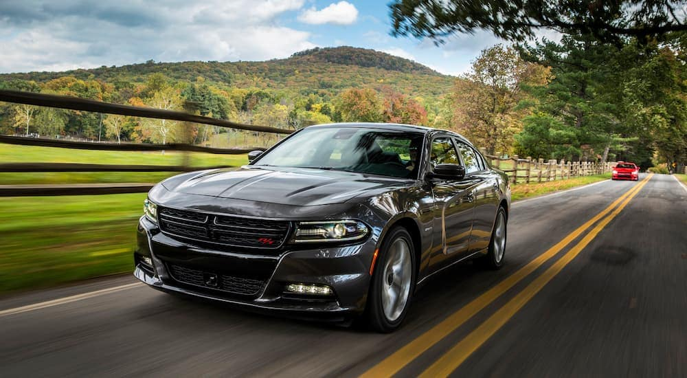 A black 2016 Dodge Charger is driving on a sunny road past a farm.