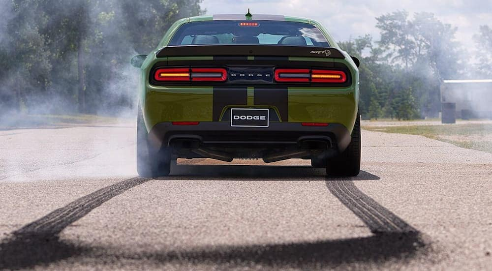 A green 2019 Dodge Challenger from the rear in a parking lot after doing burnouts.